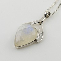 Moonstone Pear Sterling Silver Pendant