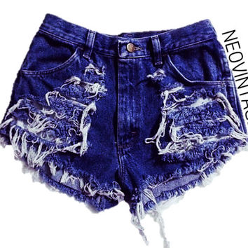 Distressed High Waisted Fringed Denim Shorts