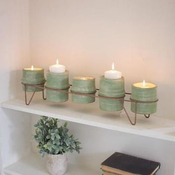 Set 5 Green Clay Candle Holders Planters With Copper Fin Base