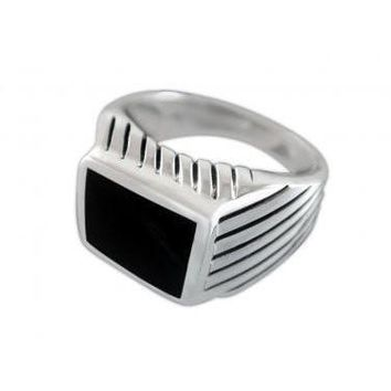 925 Sterling Silver Mens High Polish Black Onyx Striped Sides Ring