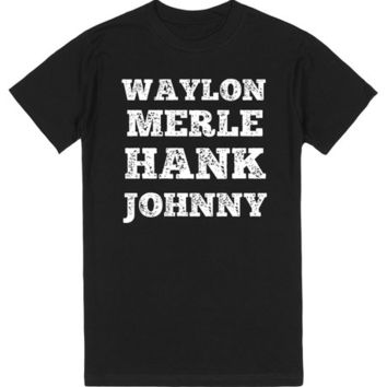 WAYLON MERLE HANK AND JOHNNY THE MEN OF COUNTRY MUSIC SHIRT