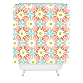 Heather Dutton Crazy Daisy Sorbet Shower Curtain