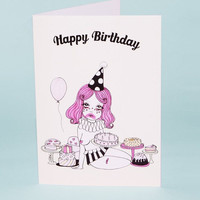 Clown With The Most Cake Greeting Card