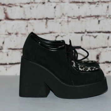 90s Chunky Shoes US 7 Oxford Mega Platform Ankle Boots Black Leather Leopard Fur Fuzzy Grunge Cyber Pastel Punk Hipster Goth Gothic Lace Up