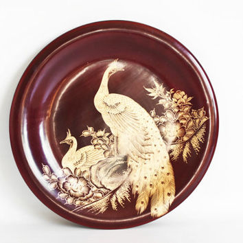 Vintage Hand Carved Japanese Plate, Wood Plate with Golden Peacocks, Bird Print Decorative Plate, Made in Japan