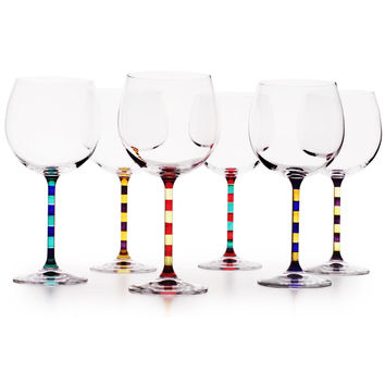 CAPRI HAND PAINTED BALLOON WINE GLASSES | Italian Capri Balloon Red Wine Glass Set - Striped Stems and Larger Bowls for Full-Bodied Flavor and Style Connoisseurs | UncommonGoods