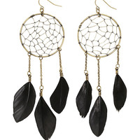 Blackheart Black Feather Gold Dreamcatcher Earrings