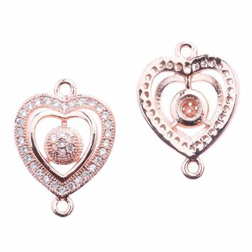10PCS/Lot Micro Pave Zircon Small Heart Jewelry Hollow Bracelet Connector Charms DIY Jewelry Accessories Supplies For Jewelry