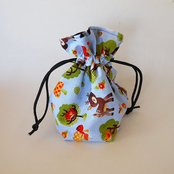 Drawstring Makeup Bag Colorful Flower From
