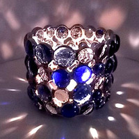 Candle Holder Stained Glass Cobalt Blue  Decor Home & Living