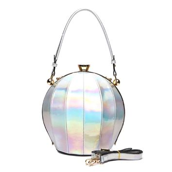 White Striped Vegan Leather Ball Bag with Crystal Kiss Lock Closure