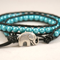Clear Blue Sky beaded leather wrap bracelet, 2x Wrap, Chan Luu Style, blue, pearl, good luck elephant