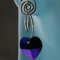Spiral convertible earrings, crystal heart