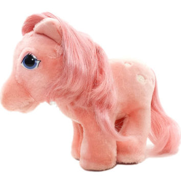Vintage My little Pony Cotton Candy Plush, Hasbro Softies, Open Mouth, Earth Ponies, Stuffed Animal, 80s Toys, MLP G1, 90s, Pink Purple Eyes
