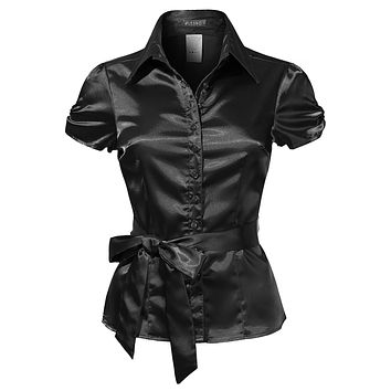 Short Sleeve Satin Blouse with Waist Tie