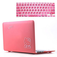 Rinbers 2in1 Bundle Soft-Touch Plastic PINK Hello Kitty Rubberized Hard Shell Case Print Frosted for MacBook Air 13 Inch A1369 A1466