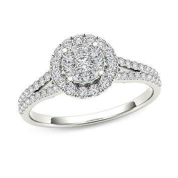 1/2 CT. T.W. Composite Diamond Frame Engagement Ring in 14K White Gold