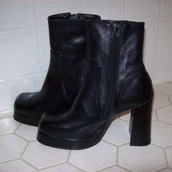 Leather Platform Boots Womens Size 6.5
