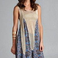 Ethnic-Print Crochet Tunic Dress