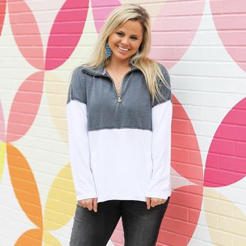 Jadelynn Brooke: Grey/White Burn Out Zip Pullover