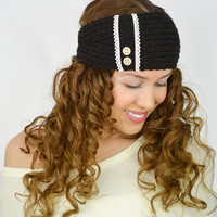 Black Knit Headband Black ear warmers hand knitted headband black headband black knit head wrap knit turban cute earwarmers Black cable knit