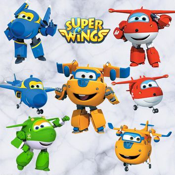 Cartoon Super Wings Deformation Airplane Robot Baby Home Decoration Anime Posters  Wall Decal Art Game Wall Paper Kids Nursery