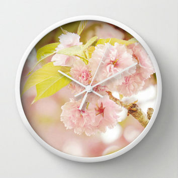 Unique Wall Clock - Pink Flowers Photo Wall Clock - Customizable Round Clock - Shabby Cottage Chic Home Decor