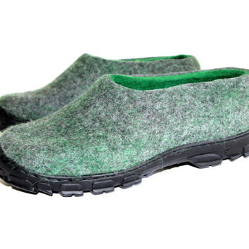Men Wool Felt Loafers Shoes Dark Grey Green, Rubber Soles, Snow Valenki Boots, Handmade Shoes, Natural Organic Wool Slippers, Dad Him Gifts