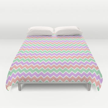 Coral Peach Pink and Lavender and Mint Green Chevron Duvet Cover by decampstudios