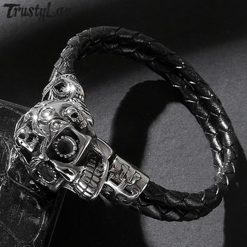 TrustyLan Vintage Mens Braided Leather Wrap Bracelet Boyfriend Gifts For Him Punk Rock Skull Men's Bracelets & Bangles Jewelry