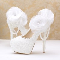 White lace flower wedding shoes high-heeled shoes super waterproof wedding bride with fine pearl pendant women shoe shoes