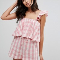 ASOS Beach Co-ord Top in Gingham with Frill Detail at asos.com