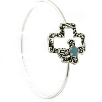 Turquoise Antique Cross Metal Wire Bracelet