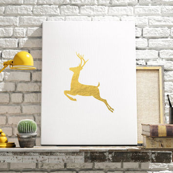 PRINTABLE ART Deer Art Print Black Deer Gold Foli Printable Art Gold and White Design Animal Art Art Print Home Decor Room Decor ANIMAL Art