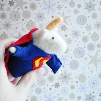 Unicorn-Superman - Needle Felted Doll, Wool Toy, Fairy Hero, Christmas Tale, Wool, Art Doll, Kawaii Plush, Soft Scuplture, Stuffed Animal