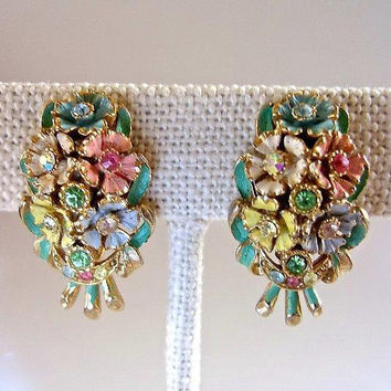 Pastel Flowers Rhinestones Earrings, Enamel Clip On, Floral Bouquet, Vintage