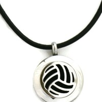 """Volleyball"" Small Stainless Steel Essential Oil Diffuser Necklace- 20mm- 18-20"" Black Cowhide"