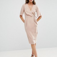 ASOS Midi Wrap Dress with Tie Detail at asos.com