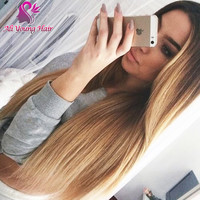 T1b/27 Blonde Ombre Full Lace Wigs Human Hair Two Tone Ombre Lace Front Wig Brazilian Virgin Hair U Part Wigs For Black Women