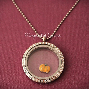 Floating Locket Charm / Pumpkin Floating Charm / Halloween Locket Charm / Fall Charm