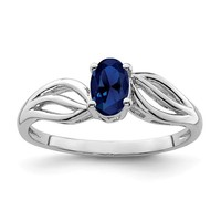 Sterling Silver Created Blue Sapphire September Birthstone Ring