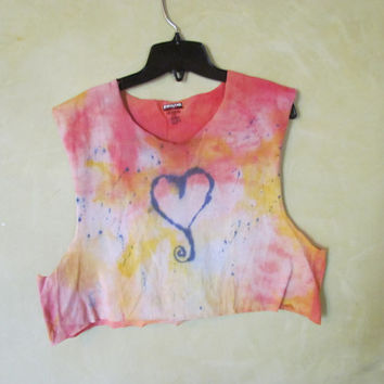 Cool, Grunge, Punk, Girly, Pretty, Red and Yellow Heart Desinged Tie Dye T-Shirt// Cropped Summer Teen Tank// Grunge Hipster Tumblr Shirt
