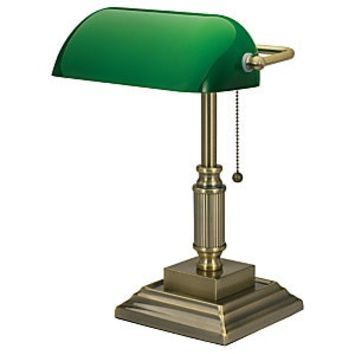 Realspace Traditional Bankers Lamp 14 34 H Antique Brass - Office Depot