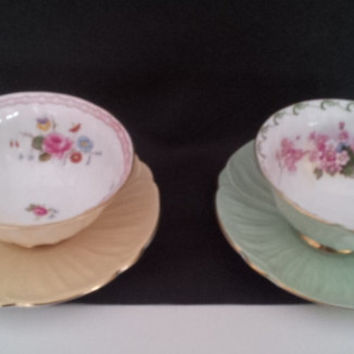 Set of (2) Vintage Shelley Oleander Cups and Saucers, Yellow and Green, c.1940s