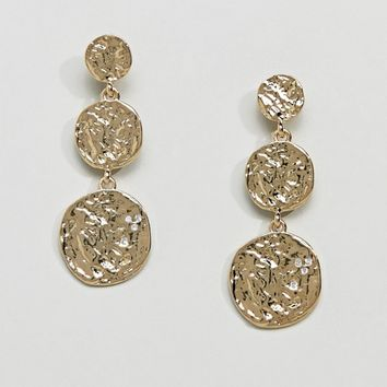 Pieces Hammered Gold Plated Disc Earrings at asos.com