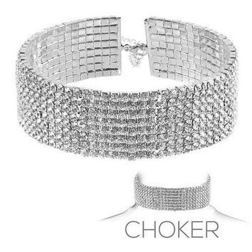 "13.50"" crystal open cuff choker necklace 1.25"" wide bridal prom pageant 8 row"