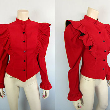 Vintage 80s Red Corduroy Victorian Jacket Steampunk Cropped Western Festival Edwardian Ruffle Bis Gene Ewing
