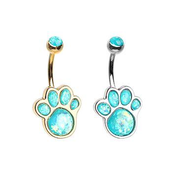 Silver & Gold Animal Lover Opal Paw Print Belly Button Ring