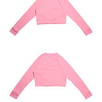 Cropped Long Sleeve Rash Guard (Pink) | STYLENANDA