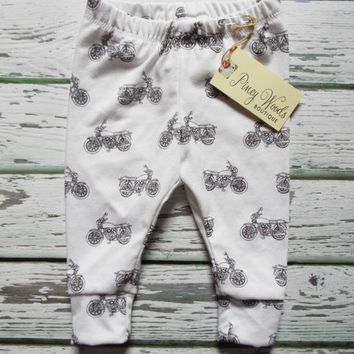 Vintage Motorcycle on White Leggings, Baby Leggings, Toddler Leggings, NB-5T, Boys Leggings, Girls Leggings